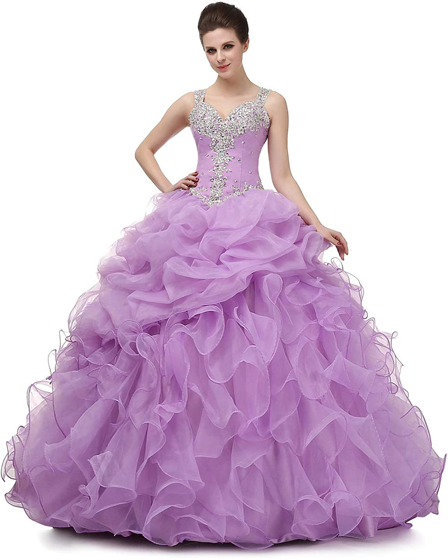 Ikerenwedding Women's Spaghetti Beading Pearls Sheer Back Ball Gown Quinceanera Dress