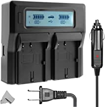 NP-FH50 Dual LCD Battery Charger for Sony CyberShot DSC-HX1 DSC-HX100V DSC-HX200V HDR-TG5V DSLR A230 A290 A330 A380 A390 Cameras, Replacement BC-TRV Travel Charger
