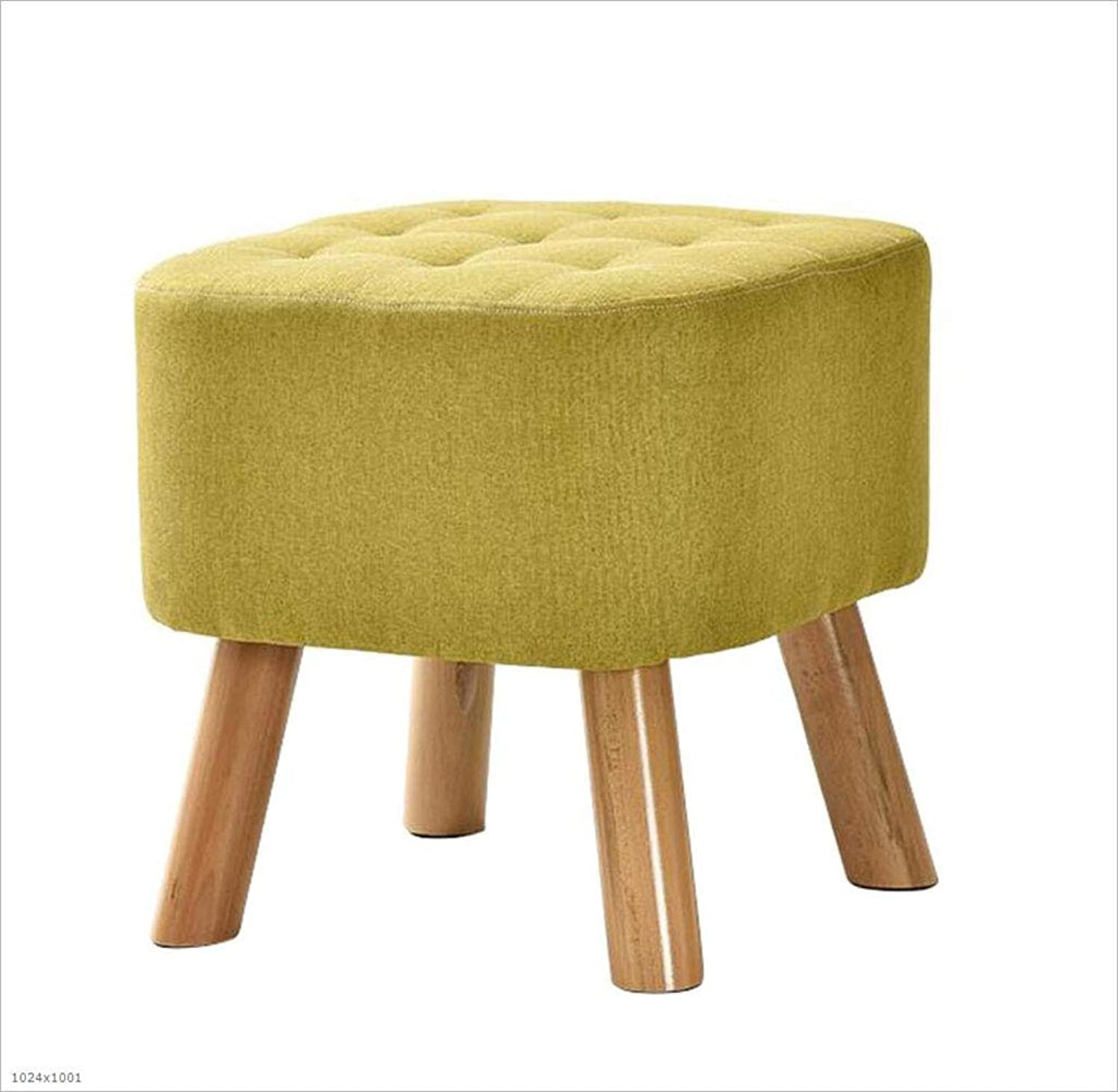 Square Footstool Fabric Cushion Detachable Sofa Stool Wooden 4 Legs Support Size 40X40x40cm,Green