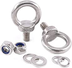 Glarks 8Pcs M12 Heavy Duty Screw Bolt, 304 Stainless Steel Male Thread Machinery Shoulder Lifting Ring Eye Bolt with Lock Nuts/Lock Washers/Flat Washers Set