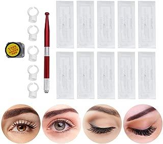 Permanent Makeup Kit Microblading Eyebrow Tattoo Practice Pen Needle + Microblade Cup&Ink