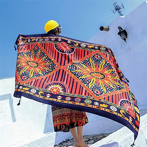 RZHIXR Toalla De Playa con Protección Solar De Verano para Mujeres Adultas, Ligera Y Transpirable, Mantón Grande con Estampado Bohemio (90X180Cm)
