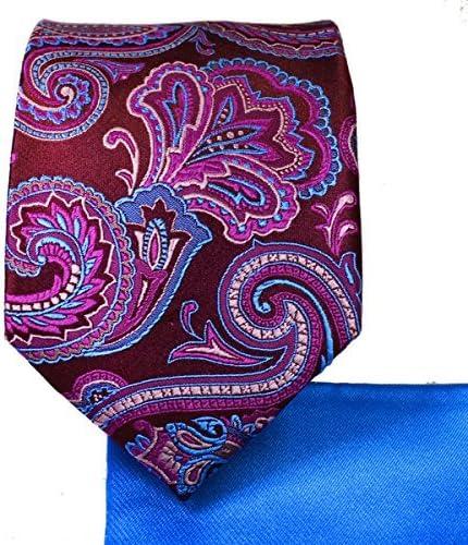 Beaujolais Paisley 7-fold Silk Tie and Pocket Square
