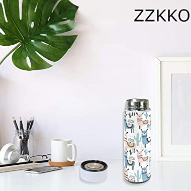 ZZKKO Animal Llama Vacuum Insulated Stainless Steel Water Bottle, Alpaca Thermos Cup Water Bottle Travel Mug BPA Free Double