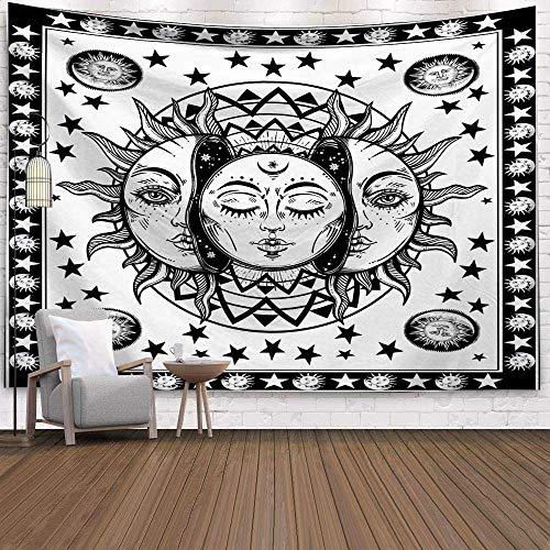 N / A Vía Láctea Cielo Estrellado Tapiz de Pared Hippie Retro Decoración del hogar Fantasía Luna Tapiz psicodélico Yoga Estera de Playa Tapiz Fondo de Tela Tela Decorativa A13 150x200cm