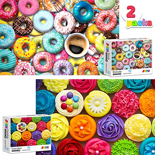 Two in One Jigsaw Puzzle 1000 Piece Repeated Seamless Snacks 2 Packs Jigsaw Puzzle, Donuts and Cupcakes Themed Puzzle for for Kids Adults, Adult Puzzles Premium Quality Recycled Material Jigsaw Puzzle