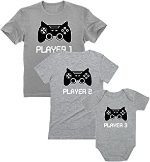 Gamer Shirts for Dad, Mom & Baby Player 1,2,3 Father Mother Shirts Baby Bodysuit