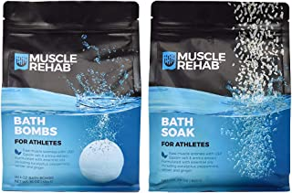 Sponsored Ad - Muscle Rehab Combo Handmade Bath Bombs & Soak for Athletes & Muscle Recovery- Pure Essential Oils, Packed w...