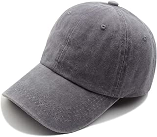 Women's Adjustable Sports Classic hat Retro Washed Old Baseball Cap (Gray, 56-60cm)