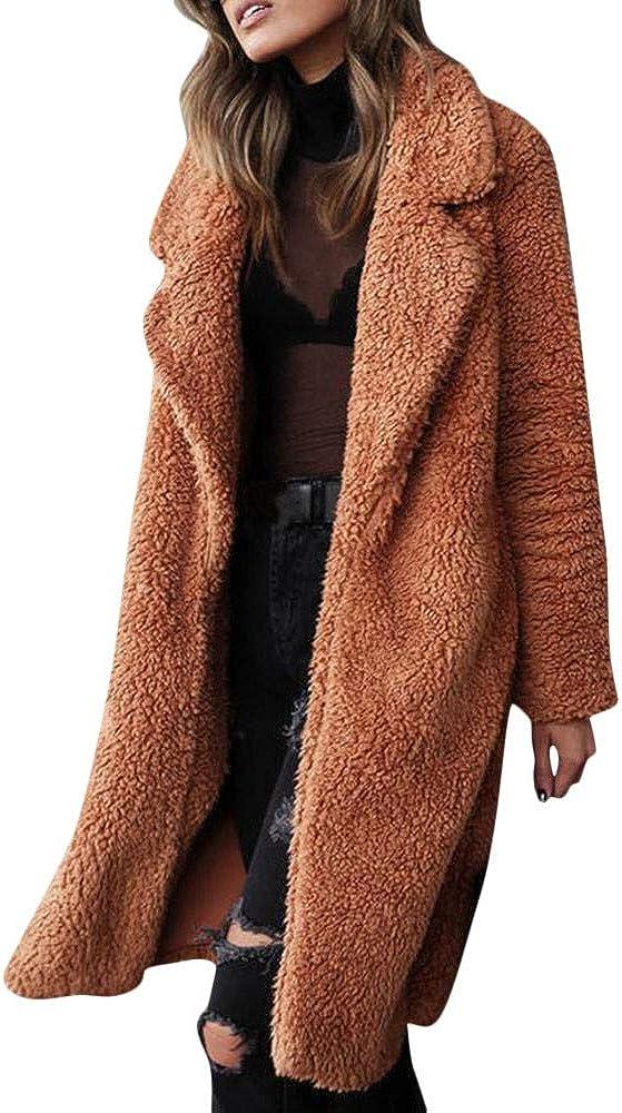 JOFOW Womens Lapel Coat,Solid Fleece Jackets Autumn Winter Casual Faux Shearing Parkas Warm Chunky Cardigan Outwear