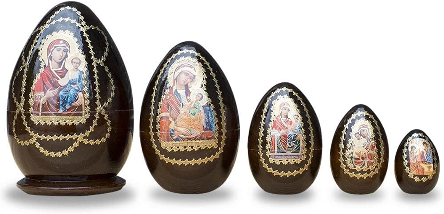 Set of 5 Mary in Red with Jesus Wooden Nesting Dolls 6.5 Inches
