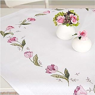 Rico Design Kit de broderie pré-dessinée pour couverture Motif tulipes roses 90 x 90 cm