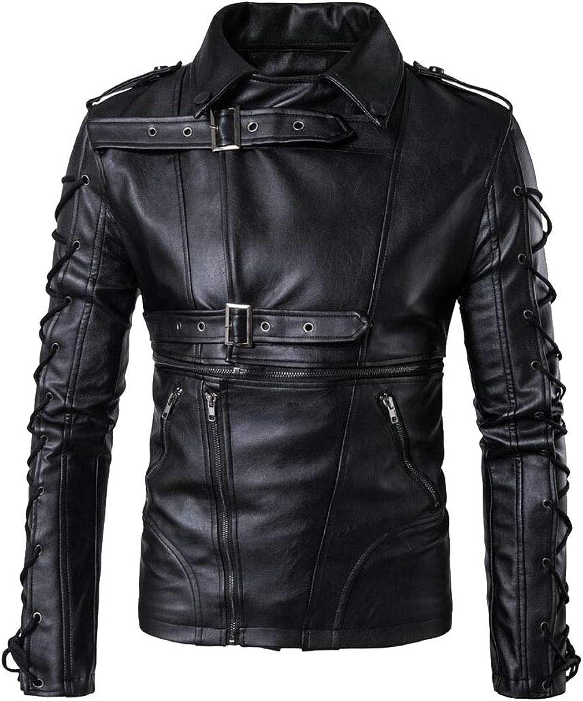Maweisong Men Causal Belted Outwear PU Leather Biker Zipper Jacket Coat