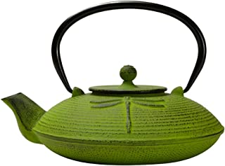 Primula Cast Iron Teapot   Green Dragonfly Design w/Stainless Steel Infuser, 26 oz