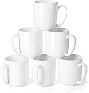 Sweese 604.001 Porcelain Mugs for Coffee, Tea, Cocoa, 15 Ounce, Set of 6, White