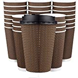 Promora Disposable Coffee Cups with Lids 16 oz - 80 Pack Large Premium Insulated Disposable Paper Ripple Wall Cups for Hot Coffee to Go