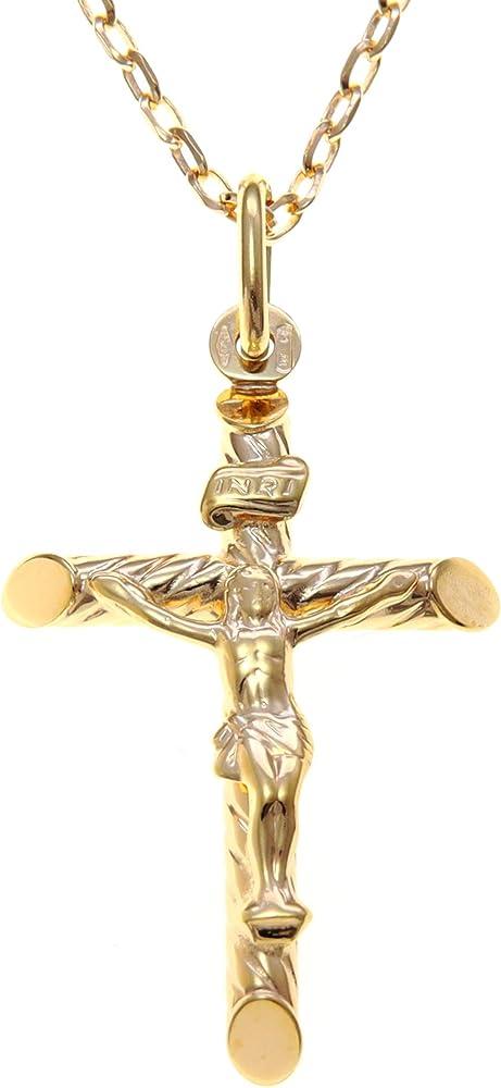 Alexander castle ,collana con ciondolo a forma di crocifisso in oro 9 kt/375(3,9gr) CRU-GX52-CHNa