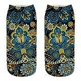 SALUCIA Unisex Socks Vintage Blumen Paisley Muster 3D Druck Socken Knöchel Füßlinge Kurze Socken für Damen & Herren