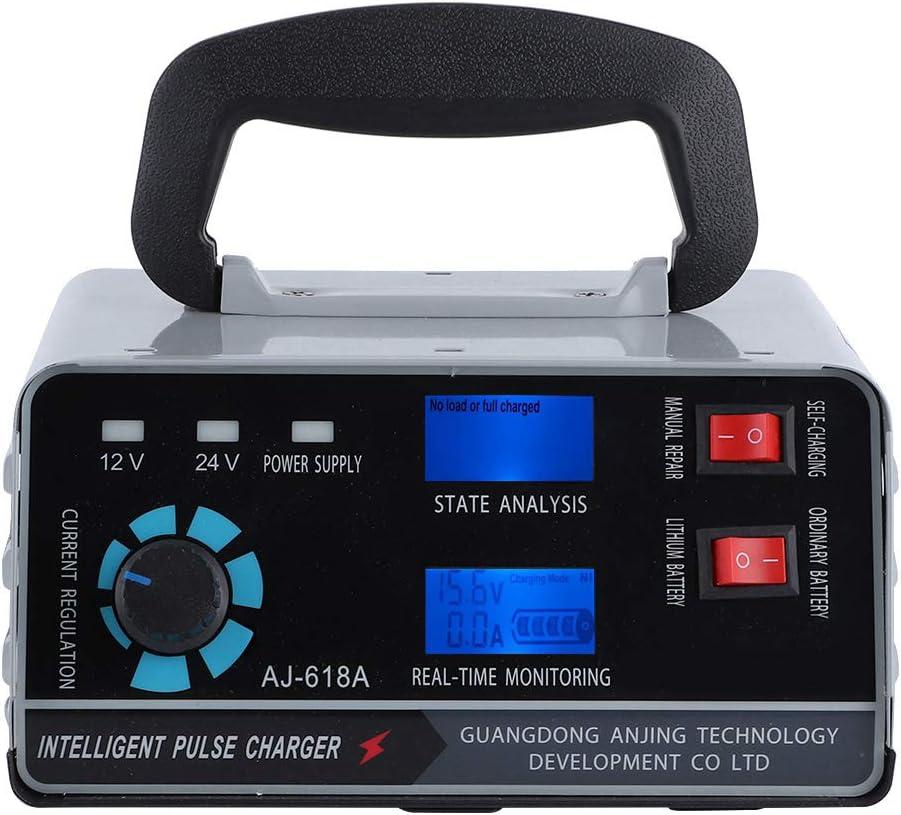 Qiilu Cargador de batería de Coche Inteligente, Cargador automático de batería de Coche, reparación de Pulso Inteligente, Carga con Pantalla LED de 400 W, 12 V/24 V(European regulations)