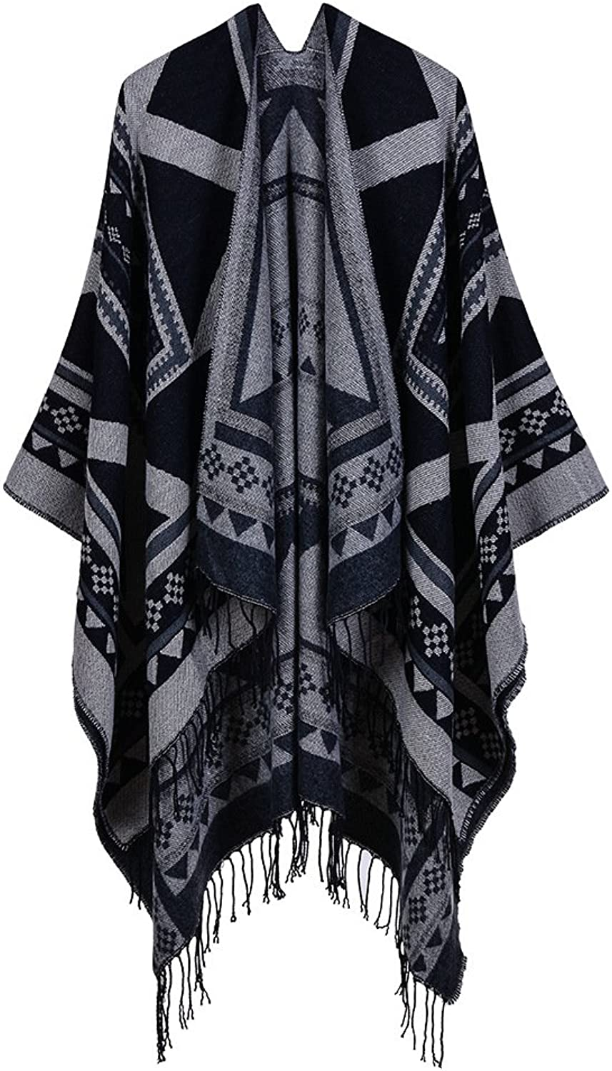 Shawl Cloak Warm Scarf Slit Shawl Geometric Pattern with Tassels Long Thick Shawl for Lady in Autumn and Winter