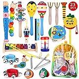 WOMGF Madera Set de Instrumentos Musicales para Niños,Músicales de Percusion,Juegos Musical con Una Bolsa de Transporte,Juguetes Educativos para la Ilustración de la Música de los Niños