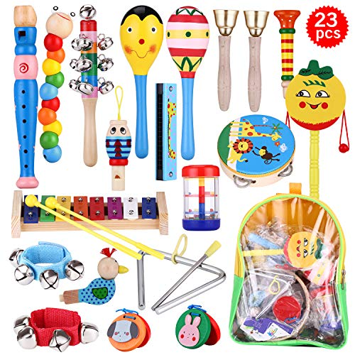 WOMGF Madera Set de Instrumentos Musicales para Niños,Músicales de Percusion,Juegos Musical con Una Bolsa de...