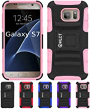 Galaxy S7 Stand Case, HLCT Rugged Shock-Proof Dual Layer PC and Soft Silicone Case with Built in Kickstand for Samsung Galaxy S7 (2016) (Pink)