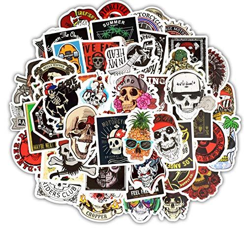 HENJIA 50 Piezas de Color Burst Graffiti Pegatinas no repiten el Paquete de Calavera Personalidad de la Guitarra del monopatín del Coche