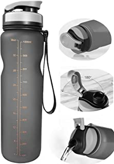 Eskiee Sports Water Bottle, 35 Ounce with Strap Leak Proof BPA-free Eco-Friendly Tritan bottle, 1 Liter Large Capacity for Traveling/ Hiking/ Camping/ Outdoor/ Running/ Gym Flip Open Lid Bottle