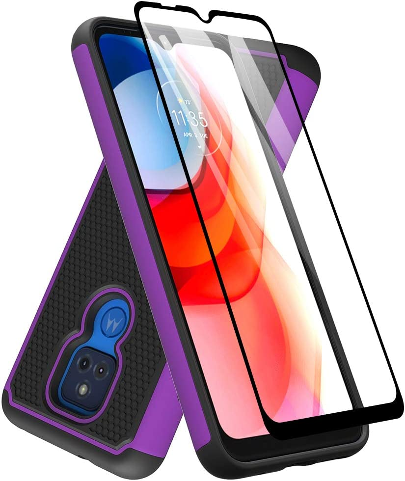 Dahkoiz Case for Moto G Play 2021 Case, Motorola G Play Case with Tempered Glass Screen Protector, Durable Defender Armor Cover Sturdy Protective Phone Cases for Motorola Moto G Play 2021, Purple