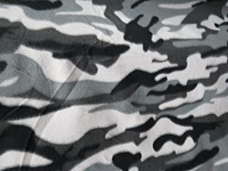 1 X Grey Camouflage Fleece 58 Inch Fabric By the Yard (F.E.®)