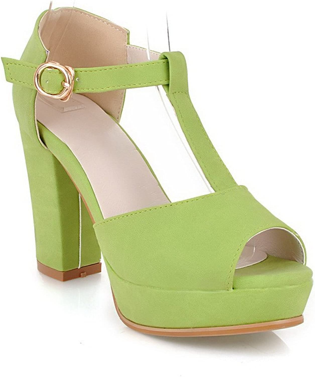 AmoonyFashion Girls Open Peep Toes High Heel Chunky Platform Soft Material PU Solid Sandals with T-strap, Green, 7.5 B(M) US