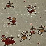 Dekostoff Emil, Weihnachtsmann mit Schlitten, Rentiere,