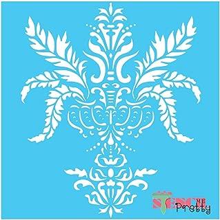 Standard Brilliant Blue Color Material Victorian Damask Decor Stencil-XS (8