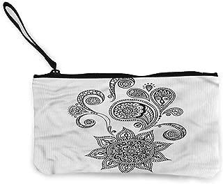 Women's Coin Pouches Henna,Ornate Floral Arrangement,Women Wallet Change Pouch