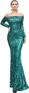 Sexy Bra Long Sleeve Retro Party Dress Sequin Maxi Dress