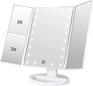 BESTOPE Makeup Mirror Vanity Mirror with 21 LED Lights Trifold Design 3X/2X magnification for a Better Makeup Experience