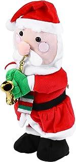 Toyvian Singing Dancing Santa Claus Christmas Rotating Santa Claus with Saxophone Xmas Electric Musical Dolls Electric Plu...