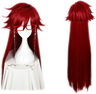 magic acgn red Long Straight fashion Party Anime Cosplay  Costume Christmas Halloween Wig