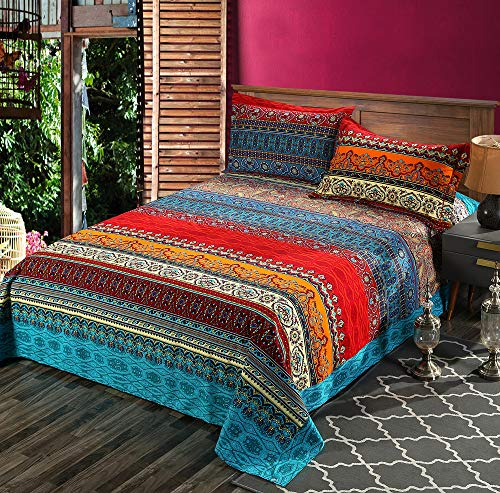 HNNSI 3 Pieces Exotic Striped Bohemia Flat Sheet with Pillow Shams,100% Sanded Cotton Thick Boho Bedding Sets (King, Flat Sheet with Pillow Shams)