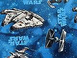 Star Wars Stoff – blauer Millennium Falcon Stoff – 100%