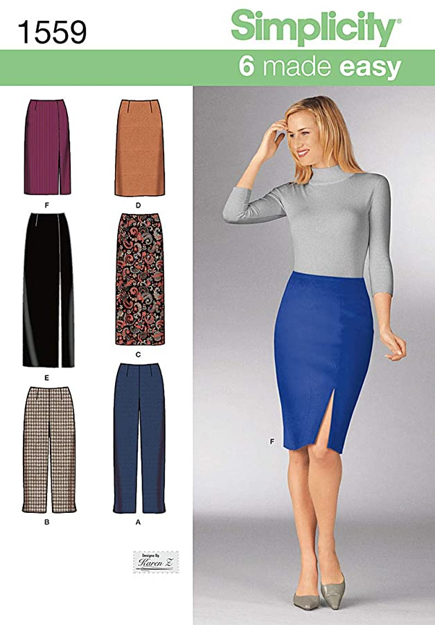 Simplicity 6 Made Easy Pattern 1559 Misses Slim Pants and Skirts 2 Lengths Size 8-10-12-14