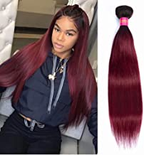FEEL ME Ombre Brazilian Hair Bundles 1 Piece 24 Inch Straight Ombre Human Hair Extensions Unprocessed Virgin Hair Weave 1b/99j Black to Burgundy