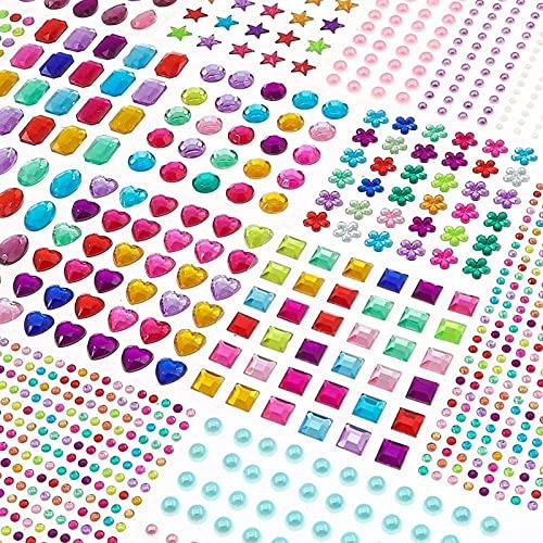 BAKHK Glitzersteine Selbstklebend, 1782 Stück Strasssteine Selbstklebend zum Aufkleben Schmucksteine Aufkleber für Kinder Handwerke, Fotorahmen, Grußkarten, in Verschiedenen Größen, 14 Blätter