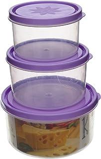 صندوق تخزين مجموعة من 2 من كيتشينز - شفاف بنفسجي