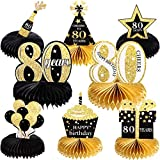 8 Pieces Birthday Decorations Set, Happy 80th Honeycomb Centerpieces Table Toppers for Cheers to 80 Years Party Supplies Favors