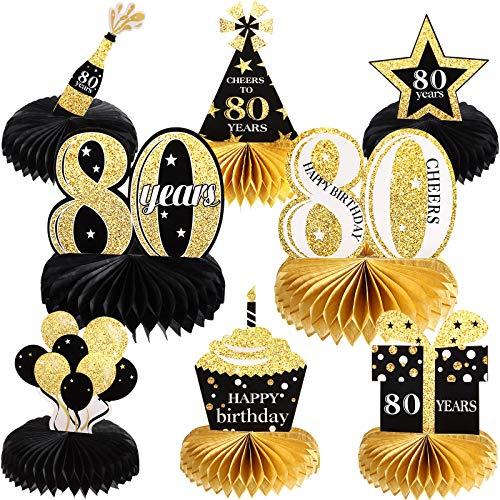 Juego de 8 Piezas Decoraciones de Cumpleaños, Topper de Mesa Centro de Mesa de Panal de Feliz Año 80 para Favores de Fiesta de Feliz 80 Años