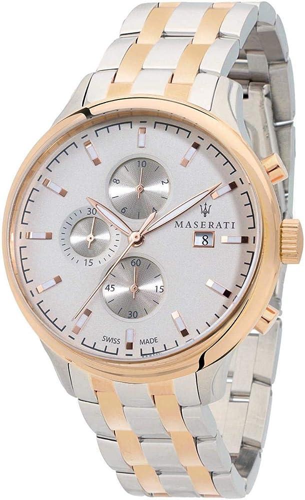 Maserati orologio cronografo da uomo, collezione attrazione, in acciaio, pvd oro rosa 8033288734550