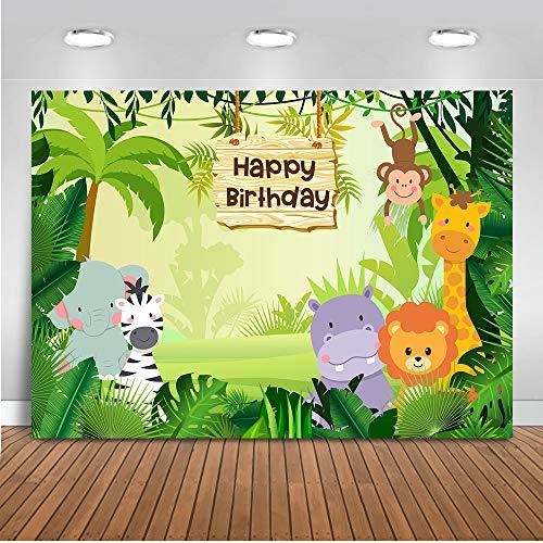 Mehofoto-Dschungelsafari-Hintergrund 7x5ft Waldtiere Alles Gute zum Geburtstag-Thema-Foto-Hintergründe Wilde Tiere Zoo-Kindergeburtstagsfeier-Fotografie-Hintergrund