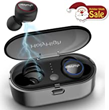 Wireless Earbuds, True Bluetooth 5.0 Earbuds HiFi Stereo Deep Bass, Waterproof Sports Wireless Bluetooth Headset Headphone Earphones with Charging Case Built-in Micphone for Android